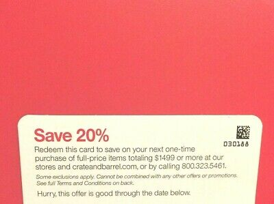 Crate Barrel 20% off 1coupon (include furnitures) *RARE