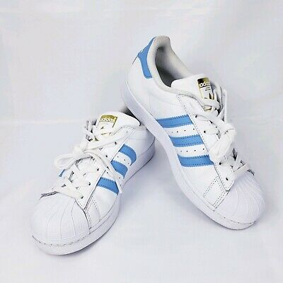 Adidas S81018 Youth Superstar Foundation White Blue Leather Trainers 6.5 US 190303756633   eBay