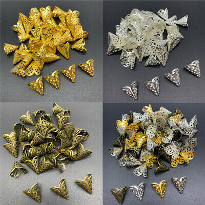 50pcs 15mm Jewelry Findings Alloy Beads Cap Ancient Charms Flower Shape Pendant