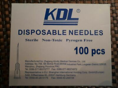 "100 Sterile Disposable Hypodermic Needles 22g 32mm length (22g X 1 1/4"")"