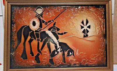 VINTAGE retro MEDIEVAL armoured KNIGHT ON HORSE WALL PLAQUE/picture orange 70s