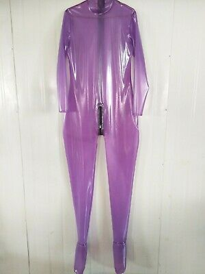 Latex Catsuit Gummi Uniform HandmadePurple Black Ganzanzug Anzug Suit S-XXL