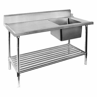Dishwasher Inlet Table w Single Bowl Sink & Pot Shelf 1500mm Right Commercial
