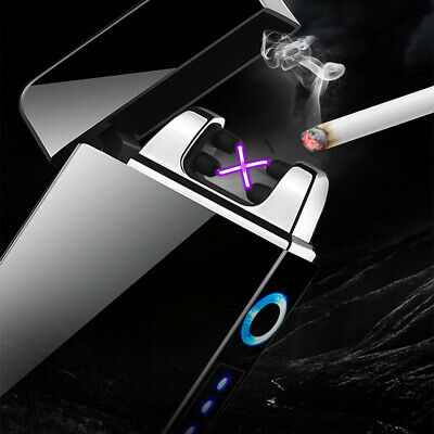 USB Rechargeable Windproof Lighters Electric Dual Arc Plasma Lighter Flameless