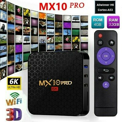 MX10 PRO 4GB/32GB 6K Android 9.0 TV BOX Allwinner H6 Quad Core USB WiFi 3D Media