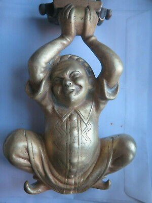BRASS DOOR KNOCKER CHINESE FIGURE ORIGINAL c1880s VERY GOOD CONDITION UNRESTORED