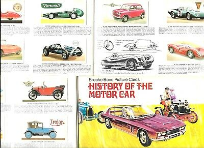 Album Full Set 50 History Of The Motor Car Brooke Bond  58 Yrs  Cigarette Cards