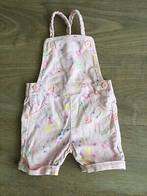Mothercare Baby Girls Pink Floral Summer Dungarees 6-9 Months B504