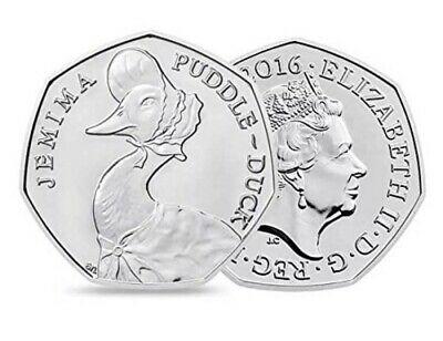 * Rare * JEMIMA PUDDLEDUCK 50p uncirculated - 2016 Beatrix Potter coin.