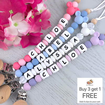 Personalised dummy clip pacifier chain dummie binky baby beaded gift soother