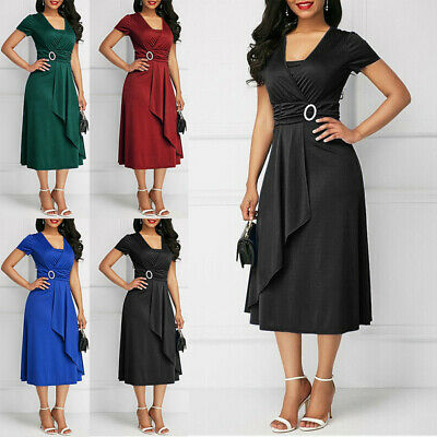 Ladies Dress Womens Evening party Summer Knee Length Fashion Short Sleeves