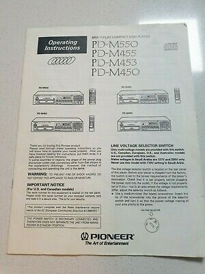 Pioneer Pd-M550 Pd-M455 Pd-M453 Pd-M450 Owner Manual Original Factory Issue