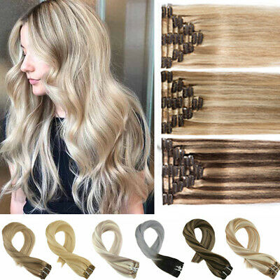 CLEARANCE Clip in Human Hair Extensions Full Head 100% Real Remy Highlight Skin