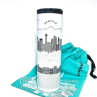 Starbucks Seattle The Emerald Cityscape Collection SS Tumbler Flip Lid 16 oz.