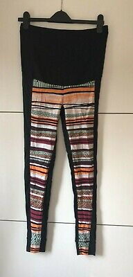 Maternity Aztec Leggings Over bump Leggings Black/Orange Small Free P&P