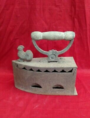 Antique Iron Press Coal Fired Iron Box Decor Vintage Wooden Handle Dove Lock UK