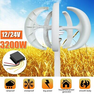 3200W Wind Turbine Generator 5 Blade Vertical Axis Lanterns Controller Motor Kit
