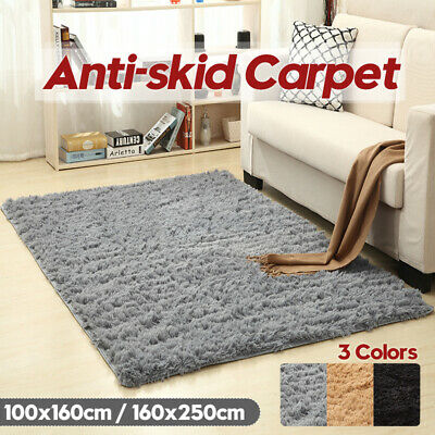 Fluffy Soft Carpet Anti-Skid Shaggy Area Dining Room Rugs Floor Mat Home Bedroom