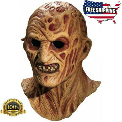 Deluxe Freddy Krueger Mask Adult Scary Halloween Costume Fancy Dress Latex Mask