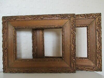 Pair of Small Ornate Antique 19thC Gilt Foliage Frames for Picture - Painting