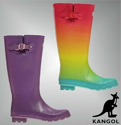 Boys Girls Kangol Rugged Buckle Tall Wellies Wellington Boots Sizes from 3 to 6