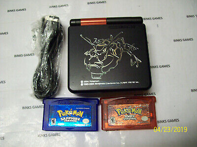 Gameboy Advance SP Handheld System Black Red Rayquaza Pokemon RUBY and SAPPHIRE