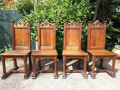 Antique Solid Oak Carved Gothic Chairs X 4