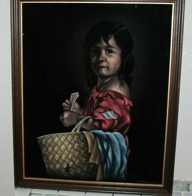 MID 20th CENTURY K D WONG CHINESE PAINTING ON VELVET - YOUNG GIRL STREET URCHIN