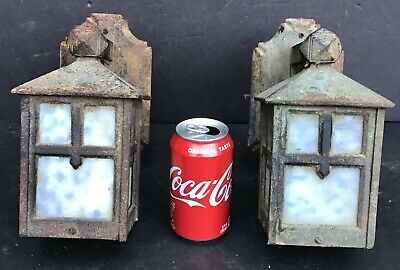 Antique Cast Iron Arts Crafts Porch Sconce Pair Old Wall Light Fixtures