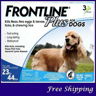 Frontline PLUS for Dogs 23-44 lbs (10-20kg) -- 3 PACK -- EPA Approved