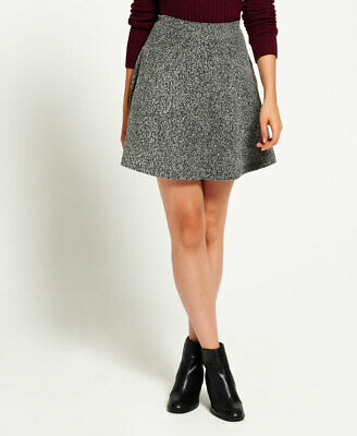 New Womens Superdry Fleck Rydell Skirt Speckle Charcoal