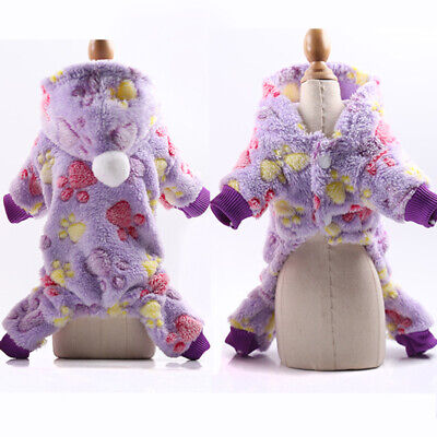 Coral Fleece Hoodie Star Claws Print Clothes For Pet Dog Cat Cute Warm Outfits