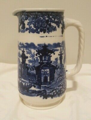 "Antique CHINESE Wedgwood blue & white 6 3/4"" Pitcher Pagoda"