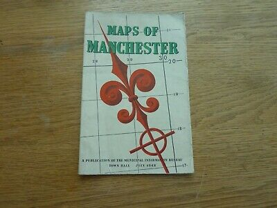 """1948 July Original Maps Of Manchester Town Hall Map Transportation 32 X 20"""""""