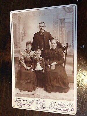 Victorian Family Cabinet Card Photo Antique With Interior Scene