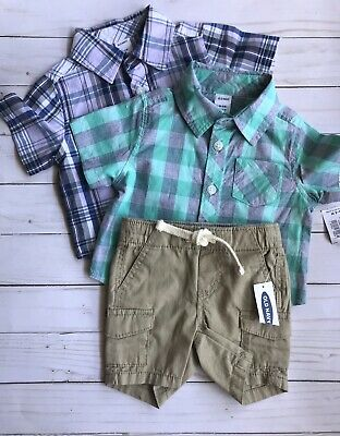 Old Navy NWT 0-3 Month Baby Boy Short Sleeve Plaid Button Shirts And Shorts Set3
