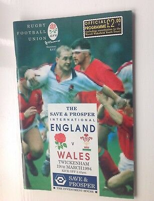 Rugby Programme. England V Wales  Twickenham 1994.  With Ticket.