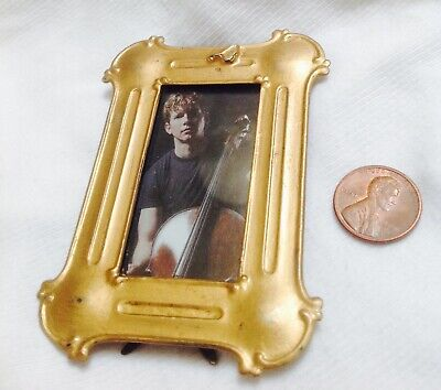 """Antique Art Nouveau MIniature Easel Backed PIcture FRAME 3.5"""" tall. All Metal"""