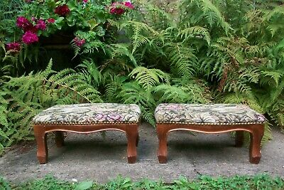 Pair of vintage low footstool cat dog bed bun feet gout Stool tapestry studded