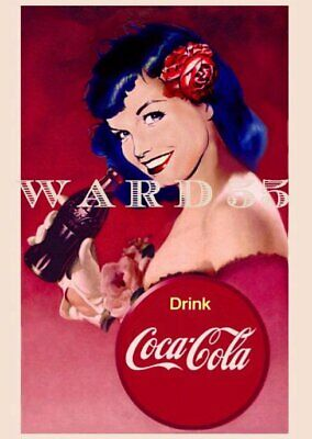 Bettie Page Sexy Smile Coke Cola Glossy Art Print Custom Graphics