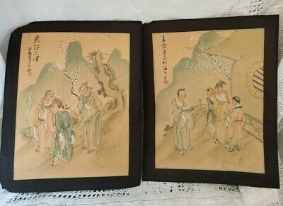 Stunning Pair Of ANTIQUE ORIENTAL HAND PAINTED PAINTINGS ON SILK Not framed