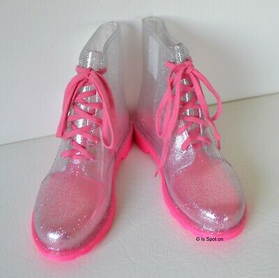 NEXT Girls Pink Mix Shimmer Rubber Boots, Wellies, Lace Up, UK 2  EUR 33, BNWT