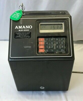 Amano MJR8000 Time Clock Powers On With Key