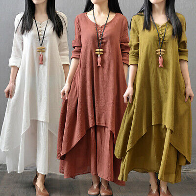 Vintage Women Cotton Linen Loose Double Layer Casual Robes Moms Dress Large Maxi