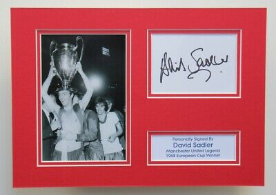 DAVID SADLER Manchester United 1968 HAND SIGNED A4 Autograph Photo Display + COA