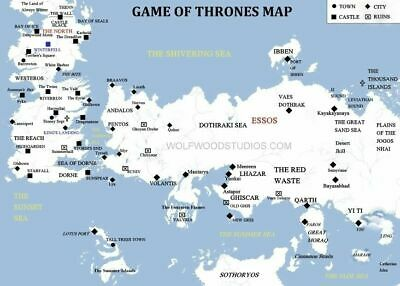 GAME OF THRONES MAP PUBLICITY 8.5 x 11 PHOTO PRINT