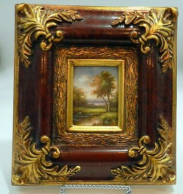 Miniature BEAUTIFULLY FRAMED LANDSCAPE  Oil Painting ON BOARD ART WORK UNSigneD