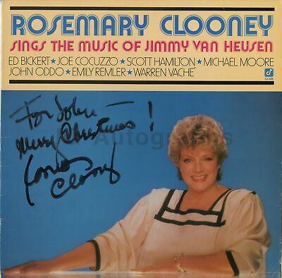 """Rosemary Clooney - American Singer & Actress - Signed 12"""" Record Sleeve"""