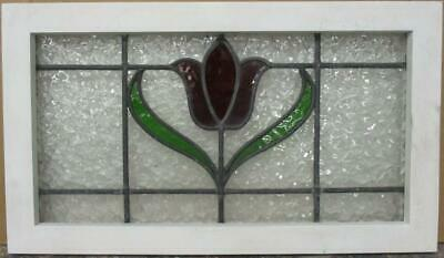 "MIDSIZE OLD ENGLISH LEADED STAINED GLASS WINDOW Gorgeous Floral Design 26"" x 15"""