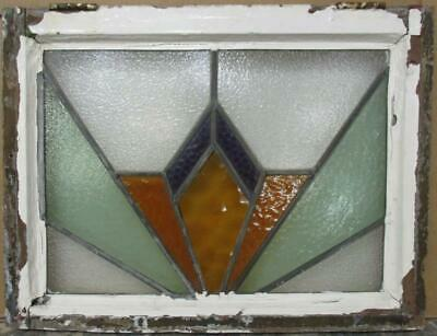 "MIDSIZE OLD ENGLISH LEADED STAINED GLASS WINDOW Nice Geometric 22.75"" x 17.25"""